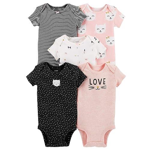 52b2eb258 Carter's Baby Girls' 5 Pack Bodysuits (Baby), Kitty Love
