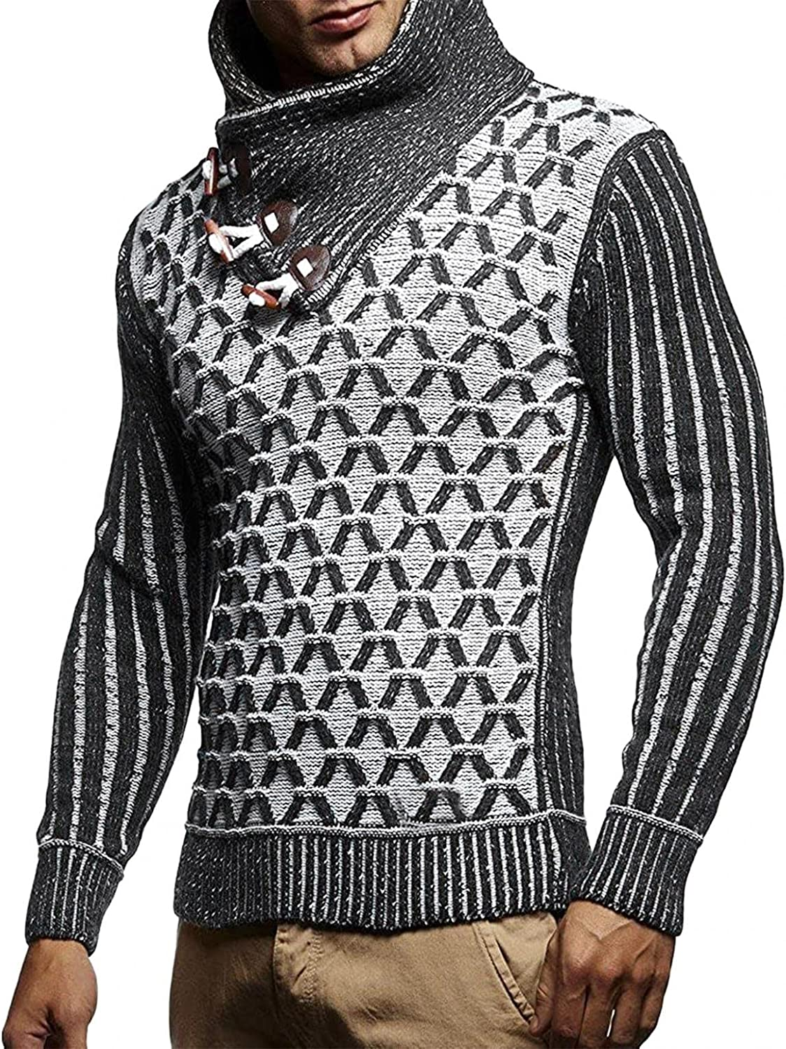 Mens Knitted Sweaters Turtleneck Long Sleeve Pullover Sweatershirts Lightweight Thicken Thermal Wool Top Blouse