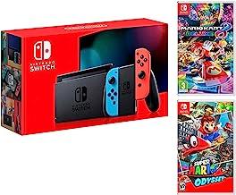 Nintendo Switch console Rouge/Bleu Néon 32Go + Super Mario Odyssey + Mario Kart 8 Deluxe - Mario Pack