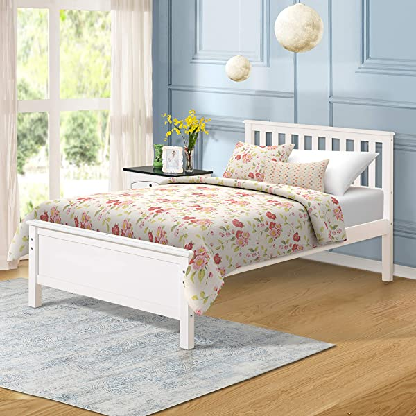 Harper Bright Designs Wood Platform Bed With Headboard Footboard Wood Slat Support No Box Spring Needed Twin White