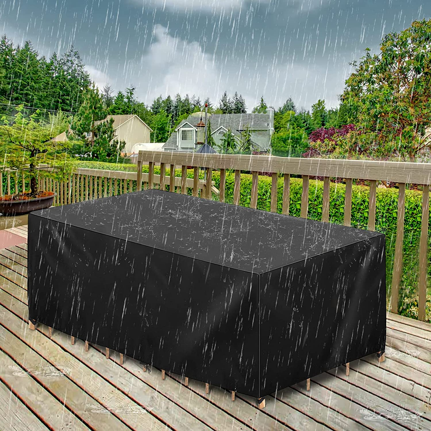 GEMITTO Outdoor Patio Furniture Cover, 420D Heavy Duty Waterproof Patio Table Covers, Wind Dust Proof Anti-UV Durable Protective Covers for Bad Weather Rain Winter Snow(74.8x46x24 inch) : Patio, Lawn & Garden