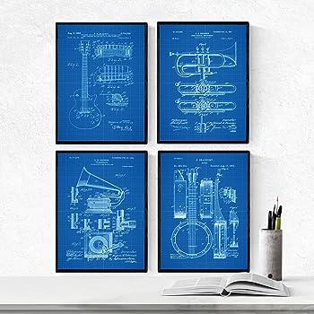 Nacnic Azul - Pack de 4 Láminas con Patentes de Música. Set de ...