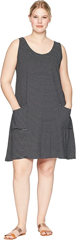 Plus Size Pinstripe Drape Dress