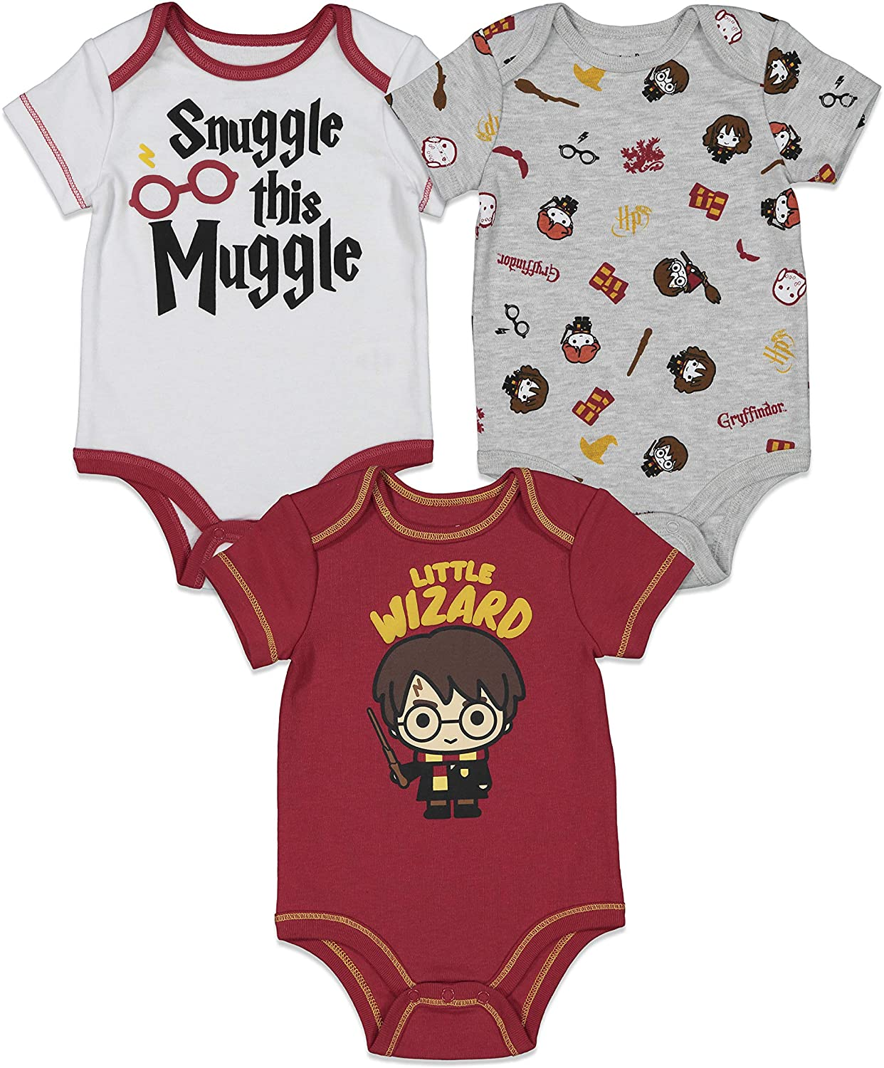 Harry Potter 3 Colorado Springs Mall Pack Super intense SALE Short Sleeve Red Gray Bodysuits White