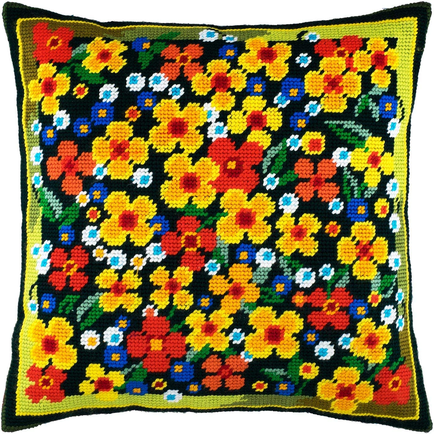 Meadow Detroit Mall of Flowers. Needlepoint Import Kit. Inches 16×16 Pillow Throw