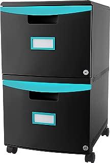 Storex Plastic 2-Drawer Mobile File Cabinet, Letter/Legal, Black/Teal