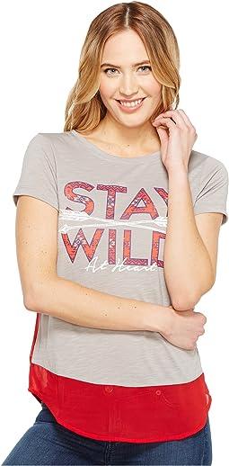 Short Sleeve Tee Poly/Rayon Slub Contrast