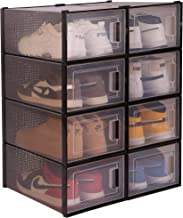 WAYTRIM Storage Shoe Box, Foldable Clear Sneaker Display Box, Stackable Storage Bins Shoe Container Organizer, 8 Pack - Black