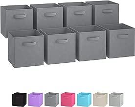 Royexe Storage Bins - Set of 8 - Storage Cubes | Foldable Fabric Cube Baskets Features Dual Handles. Cube Storage Bins. Closet Shelf Organizer | Collapsible Nursery Drawer Organizers (Grey)