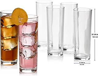 Set of 8 Highball Glasses, Cocktail Highball Glasses, Tall Drinking Glasses for Water, Juice, Cocktails, Beer and More, Elegant Bar Glasses, Italian Highball Glasses, 13 oz Highball Glasses