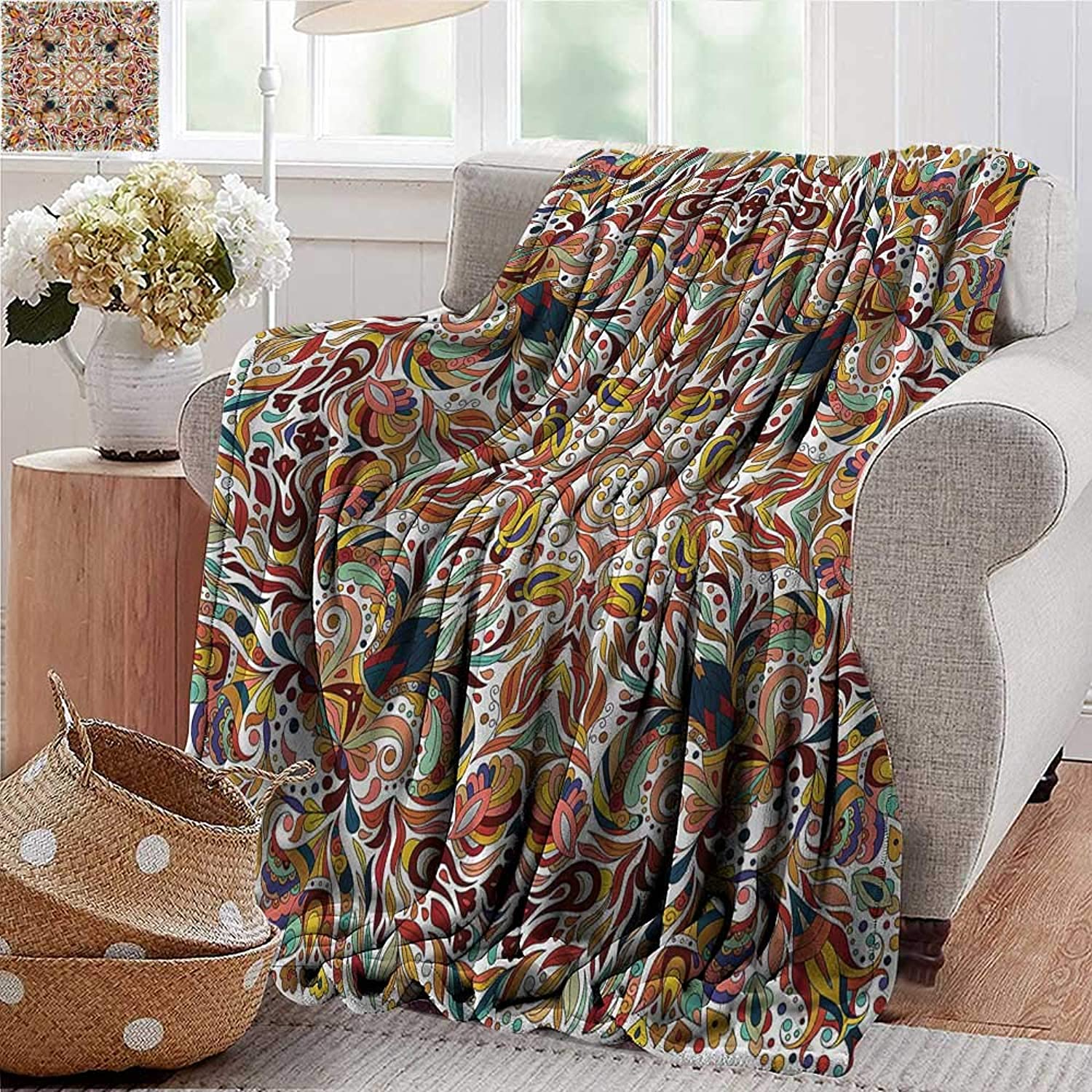 Xaviera Doherty Weighted Blanket for Kids Batik,Middle Eastern Bouquet Soft Summer Cooling Lightweight Bed Blanket 50 x60