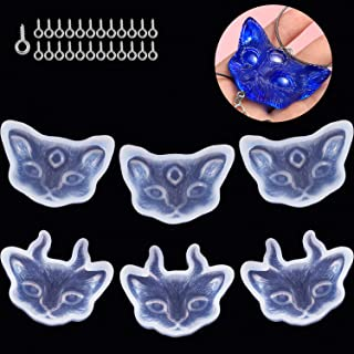 6 Pieces Cat Head Silicone Pendant Transparent Resin Mold DIY Crafts Tool with 25 Pieces Hoop Eye Pin Screws for Jewelry Making Accessories