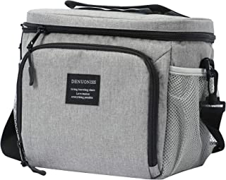 DENUONISS Insulated Lunch Bag Men and Women Small Soft Cooler Lunch Box Tote with Shoulder Strap, Leakproof Liner,(Grey)