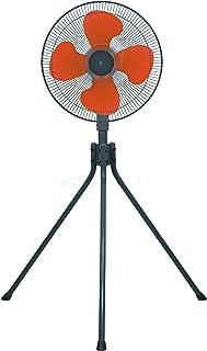 [山善] 扇風機 45cm 工業扇 スタンド式 押しボタンスイッチ 風量3段階調節 オレンジ YKS-458 [メーカー保証1年]