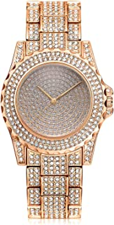 Luxury Full Diamond Women Watch Rhinestone Stainless Steel Band Bracelet Wristwatch for Ladies