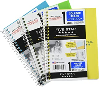 "Five Star Spiral Notebooks, 1 Subject, College Ruled Paper, 100 Sheets, 7"" x 5"", Personal Size, Black, Red, Cobalt Blue, 3..."
