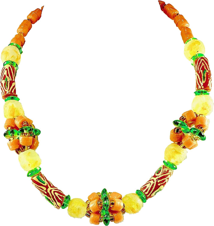 Sophia Dor 43I - Dahomey - Orange Yellow Glass Bead Necklace with Bracelet and Earrings