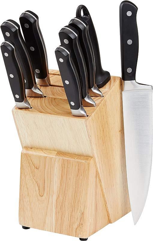 AmazonBasics Premium 9 Piece Kitchen Knife Block Set