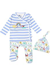 London Theme Print Piccalilly Baby Nightgown Intergated Scratch Mitts Chemical Free Organic Cotton