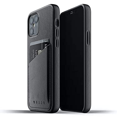 Mujjo Full Leather Wallet Case for iPhone 12 Pro/iPhone 12 | Premium Genuine Leather Natural Aging Effect | Leather Pocket for 2-3 Cards (Black)