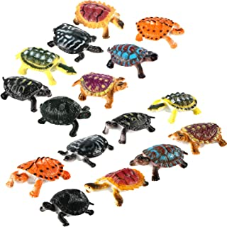 Bememo 16 Pieces Realistic Sea Turtle Lifelike Tortoises Ocean Animal Plastic Small Turtle Figurines for Party Favor Decoration