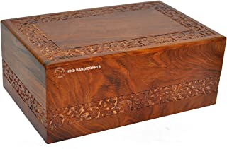 Hind Handicrafts Beautifully Handmade & Handcrafted Rosewood Borders Engraving Wooden Cremation Box/Urns for Human Ashes Adult, Funeral Urn Box (Large : 9