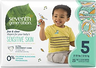 Seventh Generation Baby Diapers for Sensitive Skin, Animal Prints, Size 5, 23 Count