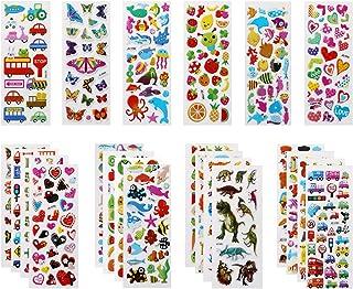 Vicloon Autocollants 3D pour Enfants Stickers 500+Pack,3D en Relief, 22 Feuilles Autocollants de Variétés pour Récompenser...