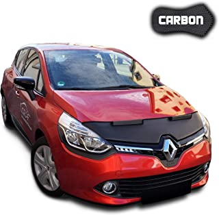 Hood Bra for Renault Clio 4 CARBON Bonnet Car Bra Front End Cover Nose Mask Stoneguard Protector TUNING