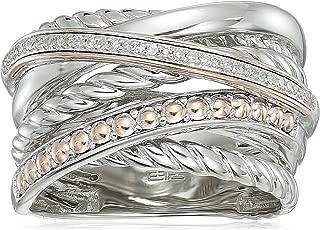 Womens 925 Sterling Silver/14K Rose Gold Diamond Ring, 7
