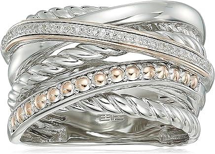 Effy Womens 925 Sterling Silver/14K Rose Gold Diamond Ring, 7