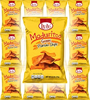 LULU Maduritos Sweet Plantain Chips, Gluten-Free, 2.5oz Bag (Pack of 12, Total of 30 Oz)