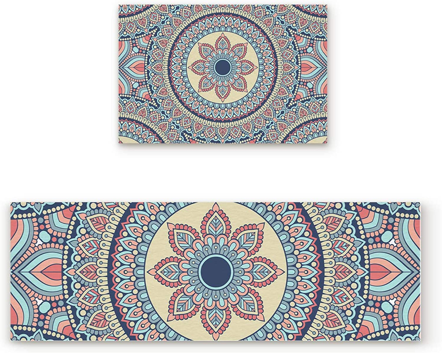 Aomike 2 Piece Non-Slip Kitchen Mat Rubber Backing Doormat Mandala Style Ethnic Flower Runner Rug Set, Hallway Living Room Balcony Bathroom Carpet Sets (19.7  x 31.5 +19.7  x 47.2 )