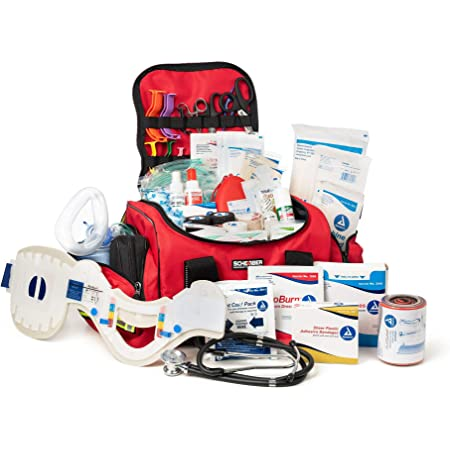 Scherber First Responder Bag | Fully-Stocked Large Professional Essentials EMT/EMS Trauma Kit | Reflective Bag w/8 Zippered Pockets & Compartments, Shoulder Strap & 250+ First Aid Supplies - Red
