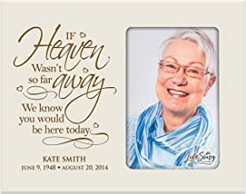 LifeSong Milestones Personalized Memorial Sympathy Picture Frame, If Heaven WASN't So Far Away We Know You Would Be Here Today, Custom Frame Holds 4x6 Photo, Made in USA (Ivory)