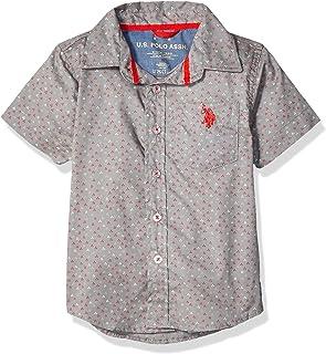 U.S. POLO ASSN. boys Short Sleeve Printed Fashion Woven Shirt Button Down Shirt