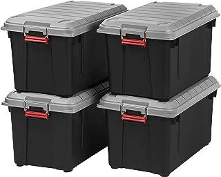 IRIS USA, Inc. SIA-760D 82 Quart Weathertight Storage Box, Store-It-All Utility Tote, Blak/Gray/Red