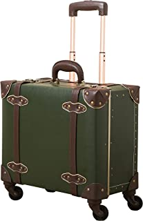 NZBZ Vintage Carry-On Suitcase Luggage with Rolling Spinner Wheels Retro Hardside Cute Travel Suitcase (Dark Green)