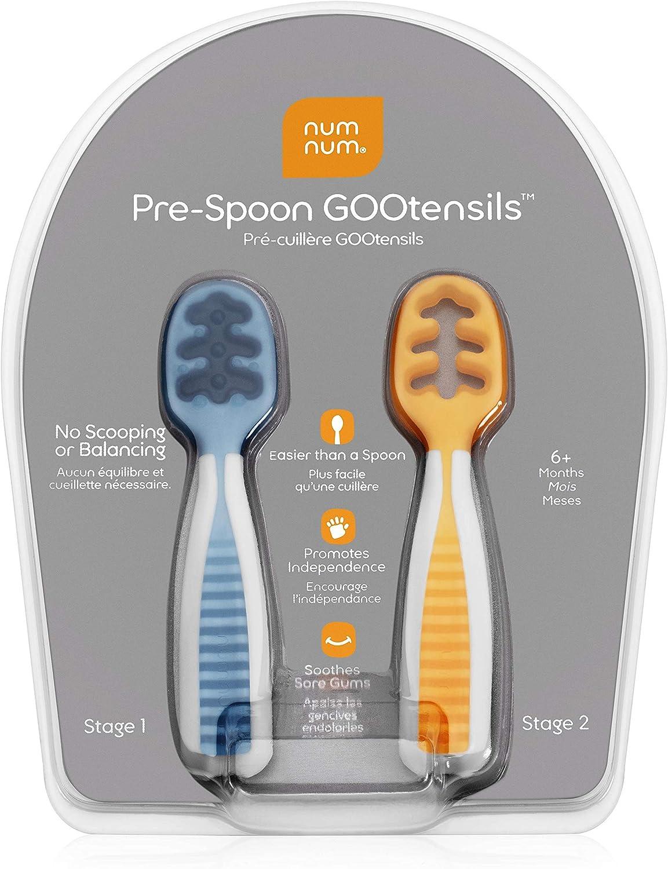 NUMNUM PreCucharas de Aprendizaje para Bebés | Juego de 2 cucharas de Silicona (Etapa 1 + Etapa 2) | #1 Recomendada por nutricionistas y expertos Baby Led Weaning |Ideal BLW (Azul/Naranja)
