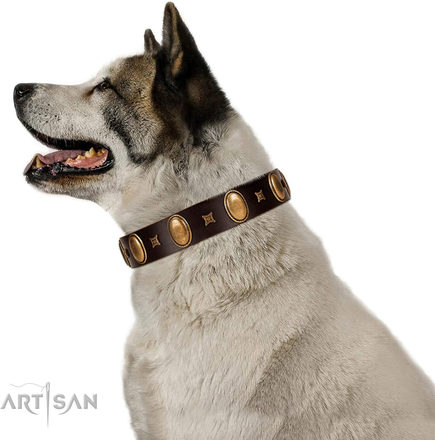 FDT Artisan 18 inch Brown Leather Dog Collar with with Ovals and Studs  Crystal Mirror  1 1 2 inch (40 mm) Wide  Gift Box Included