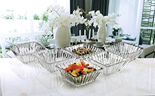 Circleware 57258 Squared Small Glass Serving Mixing Bowls 6-Piece Set Glassware for Fruits Salad, Beverage, Ice Cream, Dessert, Food and Best Selling Home & Kitchen Decor Gifts 4.65