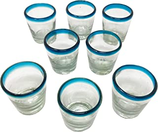 Set of 8 Mezcal Sky Blue Rim Glasses, Vaso Veladora para Mezcal. Traditional Glass for Mexican Drinks with a Wide Mouth in Order to get The Aroma. It Also Serves as a Tequila Shot Glass.