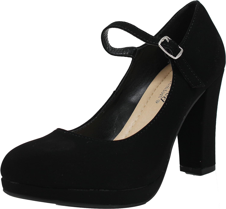 City Classified Women's Closed Toe Mary Jane Chunky Heel Pump