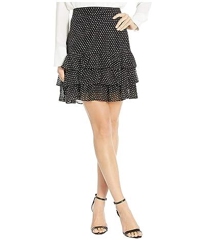 MICHAEL Michael Kors Mini Dot Ruffle Skirt (Black/Bone) Women