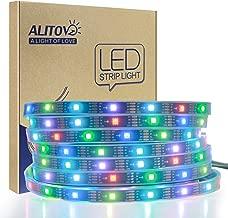 ALITOVE 12V WS2813 WS2812B RGB Addressable LED Strip Light WS2815 Programmable Digital LED Pixel Light Strip 16.4ft/5m 150 LEDs Waterproof IP67 Black PCB for Arduino Raspberry Pi Project