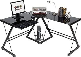 OneSpace Ultramodern Glass L-Shape Desk, Black