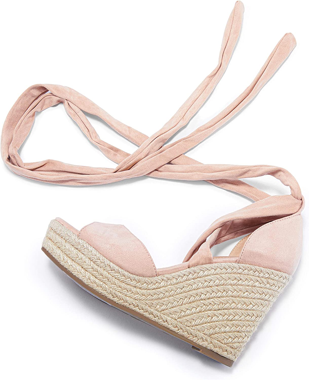 Store Huiyuzhi Womens Lace Up Quality inspection Platform T Wedge Open Espadrille Sandals