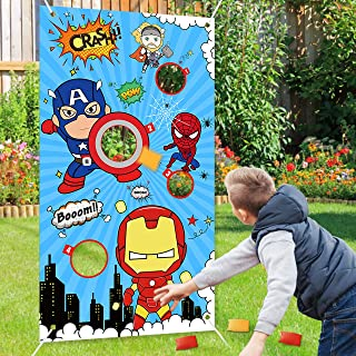 Fun and Entertaining Outdoor Indoor Backyard Garden Carnival Birthday Children/'s Kids Game Includes 6 Cans and 3 Balls Invero 9 Piece Funny Face Can Toss Throwing Game Set