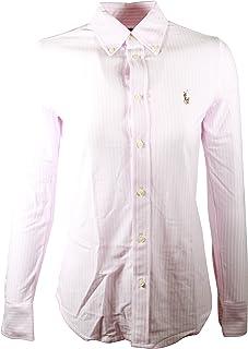 Polo Ralph Lauren Womens Knit Oxford Shirt (Large, Pink/White)