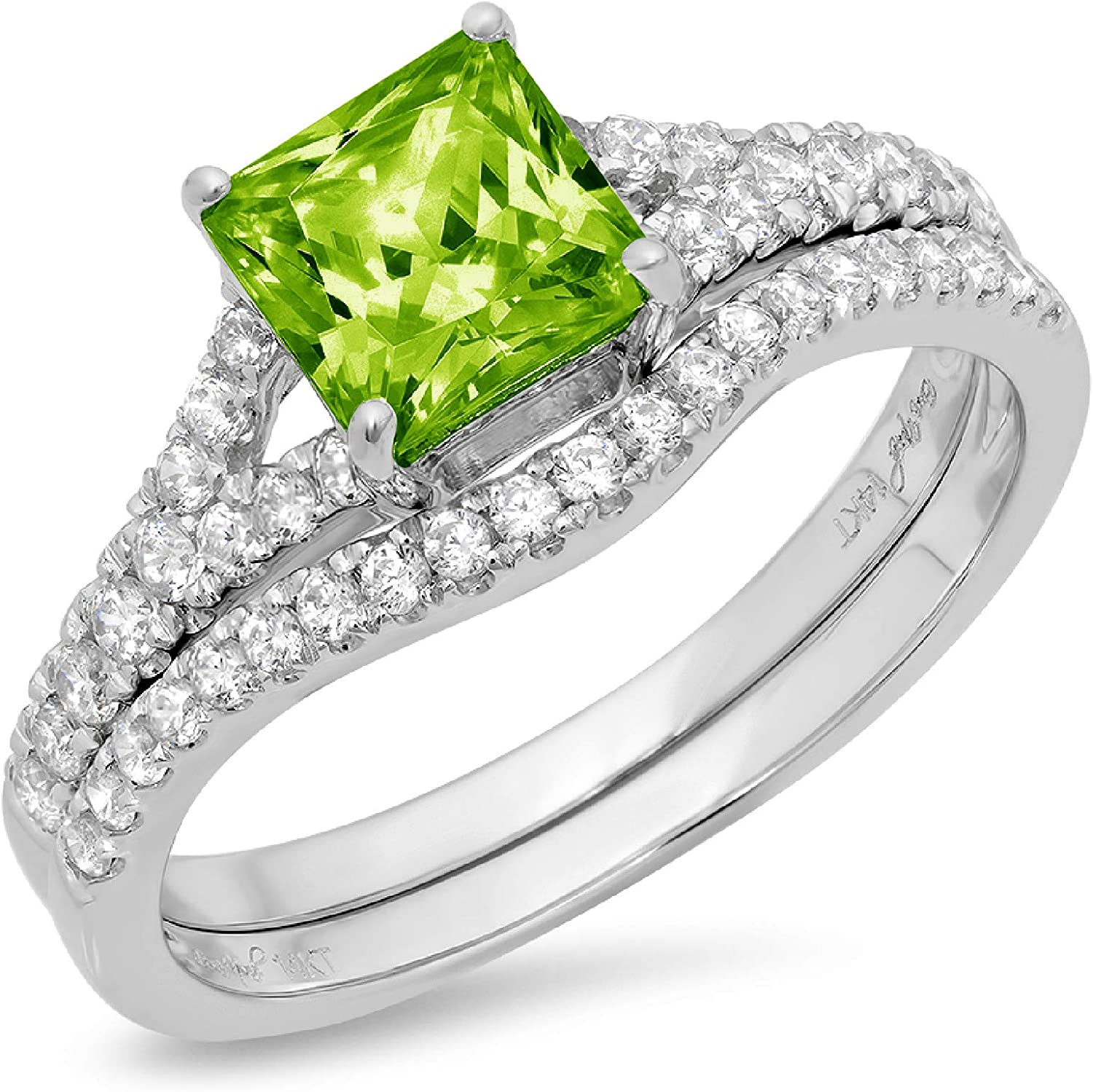 1.95ct Princess Cut Pave Solitaire with Accent VVS1 Ideal Flawless Genuine Natural Vivid Green Peridot Engagement Promise Designer Anniversary Wedding Bridal Ring band set Curved 14k White Gold